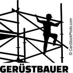 allemand, scaffolder, cadre, métier, titre