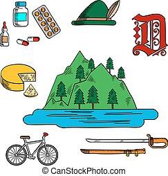 allemand, symboles, bavarois, voyage