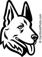 allemand, tête, berger, chien, ou, noir, retro, blanc, mascotte, alsacien, loup