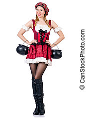 allemand, traditionnel, femme, jeune, déguisement