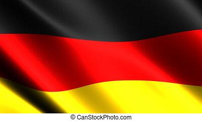 allemand, vent, drapeau ondulant