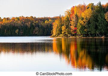 Allen Lake Dawn - The early morning sun illuminates vivid...