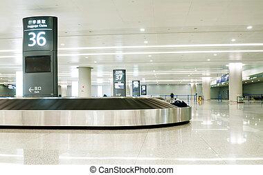 allena, flygplats, singel, karusell, resväska