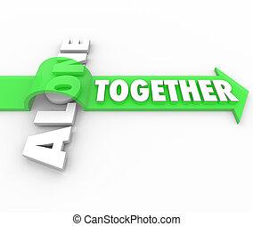 allena, kontra, vs, tillsammans, ord, pilar, isolerat, bedrövelse
