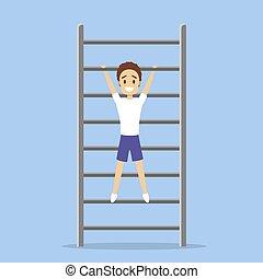 allenamento, cabrata, gym., braccio, esercizio, uomo