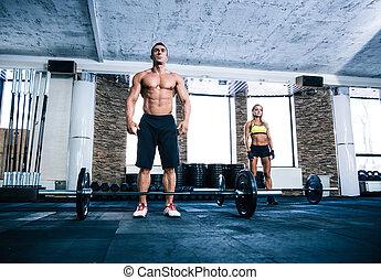 allenamento, donna, palestra, adattare, uomo