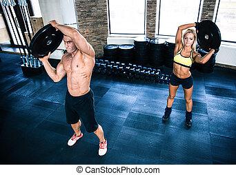allenamento, donna, palestra, muscolare, uomo
