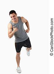 allenamento, giovane, su, maschio, warming, prima