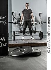 allenamento, palestra, barbell