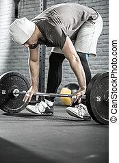 allenamento, uomo, crossfit, barbell