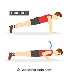 allenamento, ups, gym., spinta, braccio, uomo