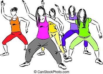 allenamento, vettore, illustrazione, donne