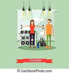 allenatore, centro, lavorativo, banner., personale, accessori, apparecchiatura, gym., idoneità, ragazza, sport, fuori
