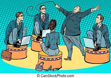 allenatore, circo, uomini affari, capo