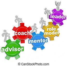 allenatore, condurre, mentore, consigliere, lei, ottenere,...