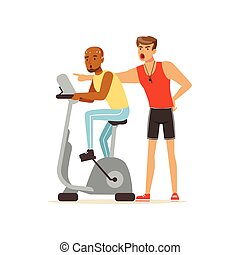 allenatore, controllo, allenatore, persone lavorare, personale, idoneità, bicicletta, esercitarsi, illustrazione, vettore, sotto, professionale, uomo, esercizio, fuori