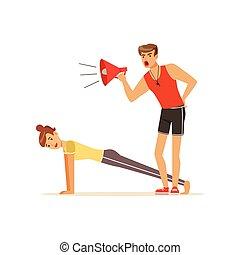 allenatore, controllo, donna, allenatore, persone, personale, idoneità, giovane, vettore, esercitarsi, allenamento, illustrazione, sotto, professionale, megafono, asse