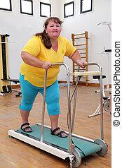 allenatore, correndo, donna, sovrappeso, routine