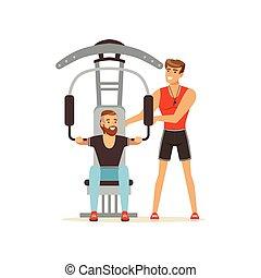 allenatore, macchina, allenatore, persone, personale, palestra, idoneità, esercitarsi, illustrazione, controllo, muscoli, flessione, sotto, professionale, vettore, uomo
