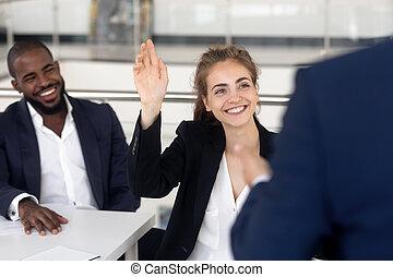 allenatore, studente, affari, domande, allegro, chiedere, femmina, durante, seminario