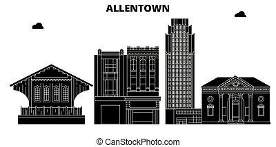 Allentown, United States, vector skyline, travel illustration, landmarks, sights.