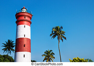 Alleppey Lighthouse with red and white stripes, Aleppuzha, Kerala, India