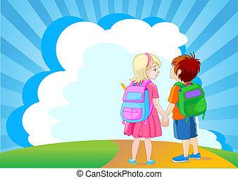 aller, à, école