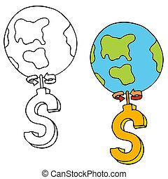 aller, argent, marques, rond, mondiale
