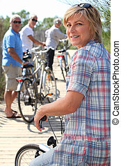 aller, cavalcade, vélo, amis, ensemble