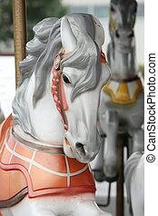 aller, cheval, tête, joyeux, rond