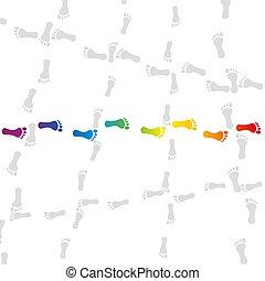 aller, coloré, empreinte, empreinte, mon, manière, piste, ...