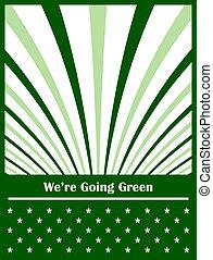 aller, concept abstrait, arrière-plan vert