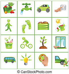 aller, concept, vert, icônes