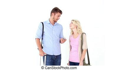 aller, couple heureux, jeune