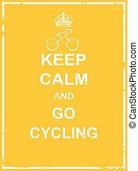 aller, cyclisme, calme, garder