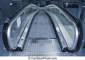 aller, escalator, bas.