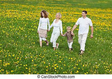 aller, famille, promenade