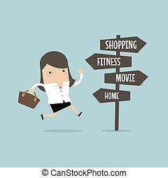 aller, femme affaires, destination, après, work.