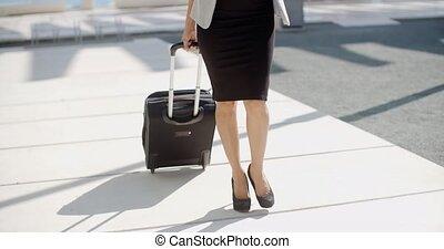 aller, femme, voyage, business