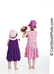 aller, fleurs, enfants