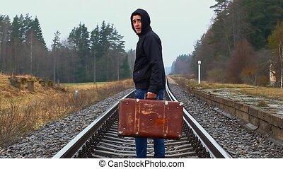 aller, garçon, loin, rails, valise
