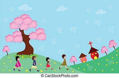 aller, heureux, église, enfants