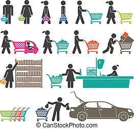 aller, hommes, achats, femmes