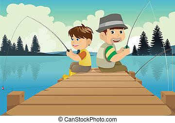 aller, père, pêche lac, fils