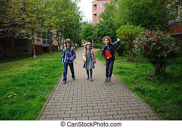 aller, peu, amis, school., trois