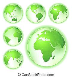 aller, planète, terre verte, cartes