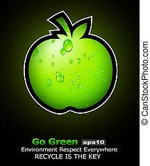 aller, recycler, aviateur, vert