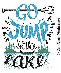 aller, sauter dans lac, maison, décor, signe
