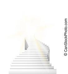 aller, sky., haut, vecteur, escalier, illustration