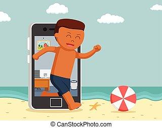 aller, smartphone, vacances, africaine, creux